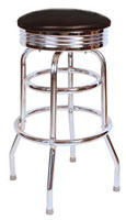 Black Diner BarStool Ribbed