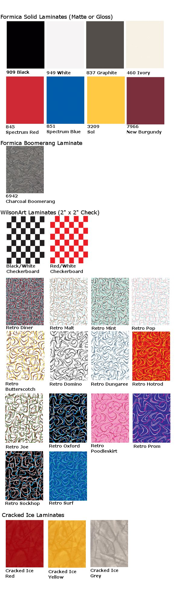 Table Laminate Swatches