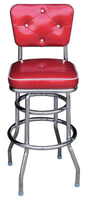 Button Back Double Ring Bar Stool