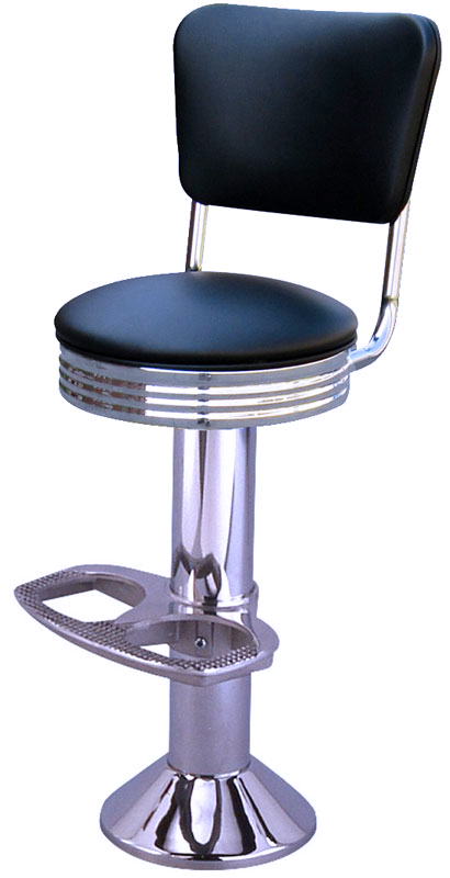 Mounted Chrome Diner Bar Stool With Back Floor Mounted