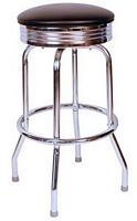 Diner Bar Stool Black Ribbed