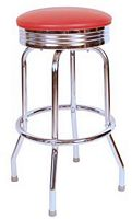 Red Diner Bar Stool Ribbed
